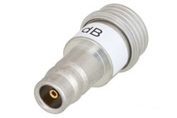 9 dB Fixed Attenuator, QN Male to QN Female Brass Tri-Metal Body Rated to 1 Watt Up to 3 GHz