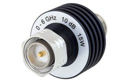 10 dB Fixed Attenuator, 4.3-10 Male to 4.3-10 Female Aluminum Body Rated to 15 Watts Up to 6 GHz