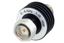 3 dB Fixed Attenuator, 4.3-10 Male to 4.3-10 Female Aluminum Body Rated to 15 Watts Up to 6 GHz
