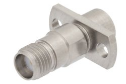 PE91066 - Precision SMA Female to SMP Male Limited Detent 2 Hole Flange Mount Adapter