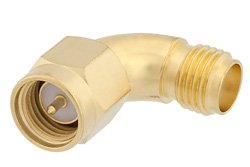 SMA Male to SMA Female Radius Right Angle Adapter, Gold Plated