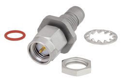 Bulkhead Mount Slide-On BMA Plug to SMA Male Adapter