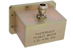 PE9823 - WR-229 CMR-229 Flange to N Female Waveguide to Coax Adapter Operating From 3.3 GHz to 4.9 GHz, S-C Band