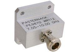WR-112 Square Type Flange to End Launch N Female Waveguide to Coax Adapter Operating From 7.05 GHz to 10 GHz