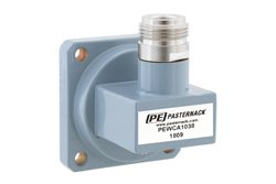 WR-102 UG-1493/U Square Cover Flange to N Female Waveguide to Coax Adapter Operating from 7 GHz to 11 GHz