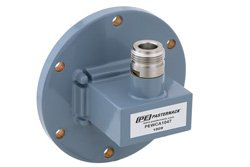 WR-137 UG-441/U Round Cover Flange to Type N Female Waveguide to Coax Adapter, 5.85 GHz to 8.2 GHz, C Band, Aluminum, Paint