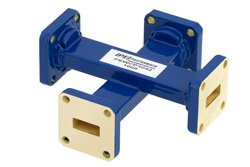 WR-42 Waveguide 50 dB Crossguide Coupler, UG-595/U Square Cover Flange, 18 GHz to 26.5 GHz, Bronze