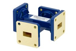 WR-51 Waveguide 40 dB Crossguide Coupler, Square Cover Flange, 15 GHz to 22 GHz, Bronze