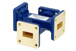 WR-62 Waveguide 20 dB Crossguide Coupler, UG-419/U Square Cover Flange, 12.4 GHz to 18 GHz, Bronze