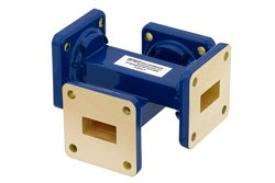 WR-62 Waveguide 30 dB Crossguide Coupler, UG-419/U Square Cover Flange, 12.4 GHz to 18 GHz, Bronze