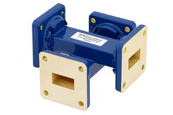 WR-62 Waveguide 40 dB Crossguide Coupler, UG-419/U Square Cover Flange, 12.4 GHz to 18 GHz, Bronze