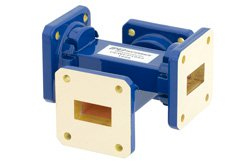 WR-75 Waveguide 40 dB Crossguide Coupler, Square Cover Flange, 10 GHz to 15 GHz, Bronze