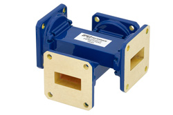 WR-90 Waveguide 20 dB Crossguide Coupler, UG-39/U Square Cover Flange, 8.2 GHz to 12.4 GHz, Bronze