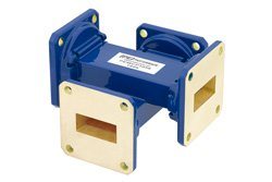 WR-90 Waveguide 50 dB Crossguide Coupler, UG-39/U Square Cover Flange, 8.2 GHz to 12.4 GHz, Bronze
