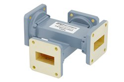 WR-112 Waveguide 20 dB Crossguide Coupler, UG-51/U Square Cover Flange, 7.05 GHz to 10 GHz, Bronze