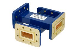WR-112 Waveguide 20 dB Crossguide Coupler, CPR-112G Flange, 7.05 GHz to 10 GHz, Bronze