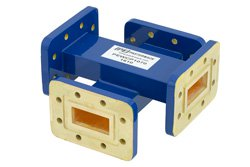 WR-112 Waveguide 50 dB Crossguide Coupler, CPR-112G Flange, 7.05 GHz to 10 GHz, Bronze