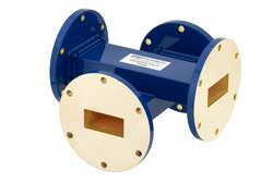 WR-137 Waveguide 20 dB Crossguide Coupler, UG-344/U Round Cover Flange, 5.85 GHz to 8.2 GHz, Bronze