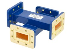 WR-137 Waveguide 20 dB Crossguide Coupler, CPR-137G Flange, 5.85 GHz to 8.2 GHz, Bronze