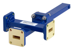 WR-42 Waveguide 40 dB Crossguide Coupler, 3 Port UG-595/U Square Cover Flange, 18 GHz to 26.5 GHz, Bronze