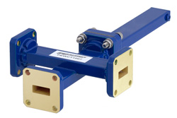WR-42 Waveguide 50 dB Crossguide Coupler, 3 Port UG-595/U Square Cover Flange, 18 GHz to 26.5 GHz, Bronze