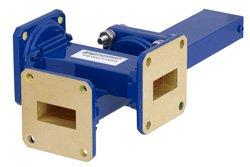 WR-90 Waveguide 50 dB Crossguide Coupler, 3 Port UG-39/U Square Cover Flange, 8.2 GHz to 12.4 GHz, Bronze