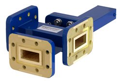 WR-90 Waveguide 50 dB Crossguide Coupler, 3 Port CPR-90G Flange, 8.2 GHz to 12.4 GHz, Bronze