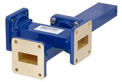 WR-112 Waveguide 20 dB Crossguide Coupler, 3 Port UG-51/U Square Cover Flange, 7.05 GHz to 10 GHz, Bronze