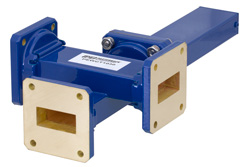 WR-112 Waveguide 40 dB Crossguide Coupler, 3 Port UG-51/U Square Cover Flange, 7.05 GHz to 10 GHz, Bronze