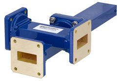 WR-112 Waveguide 50 dB Crossguide Coupler, 3 Port UG-51/U Square Cover Flange, 7.05 GHz to 10 GHz, Bronze
