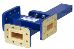 WR-112 Waveguide 50 dB Crossguide Coupler, 3 Port CPR-112G Flange, 7.05 GHz to 10 GHz, Bronze