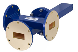 WR-137 Waveguide 20 dB Crossguide Coupler, 3 Port UG-344/U Round Cover Flange, 5.85 GHz to 8.2 GHz, Bronze