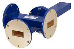 WR-137 Waveguide 30 dB Crossguide Coupler, 3 Port UG-344/U Round Cover Flange, 5.85 GHz to 8.2 GHz, Bronze