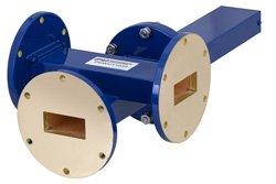 WR-137 Waveguide 50 dB Crossguide Coupler, 3 Port UG-344/U Round Cover Flange, 5.85 GHz to 8.2 GHz, Bronze