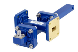 WR-51 Waveguide 20 dB Crossguide Coupler, Square Cover Flange, SMA Female Coupled Port, 15 GHz to 22 GHz, Bronze