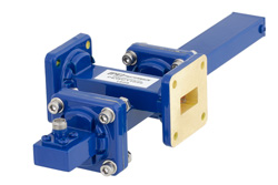 WR-62 Waveguide 20 dB Crossguide Coupler, UG-419/U Square Cover Flange, SMA Female Coupled Port, 12.4 GHz to 18 GHz, Bronze
