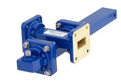 WR-75 Waveguide 40 dB Crossguide Coupler, Square Cover Flange, SMA Female Coupled Port, 10 GHz to 15 GHz, Bronze