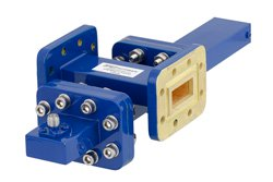 WR-90 Waveguide 20 dB Crossguide Coupler, CPR-90G Flange, SMA Female Coupled Port, 8.2 GHz to 12.4 GHz, Bronze
