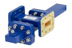 WR-90 Waveguide 40 dB Crossguide Coupler, CPR-90G Flange, SMA Female Coupled Port, 8.2 GHz to 12.4 GHz, Bronze