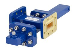 WR-90 Waveguide 50 dB Crossguide Coupler, CPR-90G Flange, SMA Female Coupled Port, 8.2 GHz to 12.4 GHz, Bronze