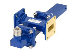 WR-90 Waveguide 30 dB Crossguide Coupler, UG-39/U Square Cover Flange, N Female Coupled Port, 8.2 GHz to 12.4 GHz, Bronze
