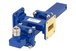 WR-90 Waveguide 40 dB Crossguide Coupler, UG-39/U Square Cover Flange, N Female Coupled Port, 8.2 GHz to 12.4 GHz, Bronze