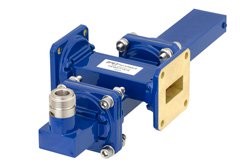 WR-90 Waveguide 50 dB Crossguide Coupler, UG-39/U Square Cover Flange, N Female Coupled Port, 8.2 GHz to 12.4 GHz, Bronze