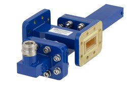 WR-90 Waveguide 50 dB Crossguide Coupler, CPR-90G Flange, N Female Coupled Port, 8.2 GHz to 12.4 GHz, Bronze