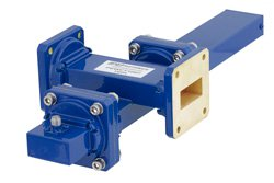 WR-112 Waveguide 50 dB Crossguide Coupler, UG-51/U Square Cover Flange, SMA Female Coupled Port, 7.05 GHz to 10 GHz, Bronze