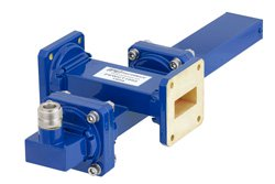 WR-112 Waveguide 20 dB Crossguide Coupler, UG-51/U Square Cover Flange, N Female Coupled Port, 7.05 GHz to 10 GHz, Bronze