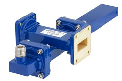 WR-112 Waveguide 40 dB Crossguide Coupler, UG-51/U Square Cover Flange, N Female Coupled Port, 7.05 GHz to 10 GHz, Bronze