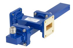 WR-112 Waveguide 50 dB Crossguide Coupler, UG-51/U Square Cover Flange, N Female Coupled Port, 7.05 GHz to 10 GHz, Bronze