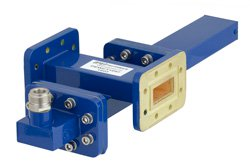 WR-112 Waveguide 30 dB Crossguide Coupler, CPR-112G Flange, N Female Coupled Port, 7.05 GHz to 10 GHz, Bronze