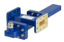 WR-112 Waveguide 40 dB Crossguide Coupler, CPR-112G Flange, N Female Coupled Port, 7.05 GHz to 10 GHz, Bronze